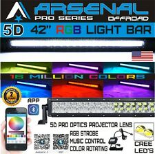 No.1 42inch 560W CREE RGB LED Light Bar 5D Combo Offroad Strobe UTV SxS