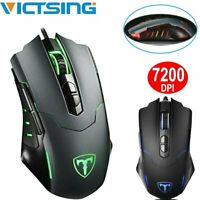 Victsing 7200DPI Ergonomic Optical Wired Gaming Mouse RGB Backlight Programmable