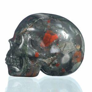 """1.97""""Natural New Blood Jasper Crystal Skull Metaphysic Healing Power #33E56"""