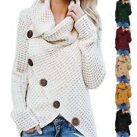 Women Knitted Buttons Loose Cardigan Coat Warm Turtleneck Sweater Jacket Solid