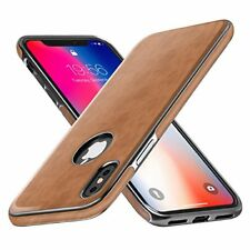 iPhone X Case TPU Leather Ultra Slim Scratch Resistant Shockproof New Brown
