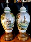 """French Faience Jar Lamps Castle Scenes 22""""Tall Signed On Base"""