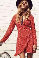 Runway Scout Red Spot Wrap Dress Flowy Side zip *BNWT* SIZE 12