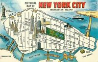 1950s Map Attractions New York City Postcard Manhattan Colorpicture 2427