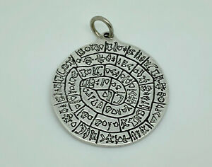 Superb Vintage Sterling Silver Minoan Phaistos Disc Large Double Sided Pendant