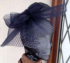 Navy fascinator millinery burlesque wedding hat hair piece ascot race bridal