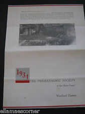 1934 The Philharmonic Society of San Mateo County Woodland Theatre Schedule