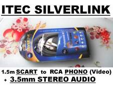 ITEC SWITCHED SCART to RCA Phono VIDEO + 3.5mm mini stereo plug AUDIO Lead Cable