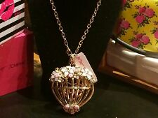 Betsey Johnson Marie Antoinette Gold Floral BirdCage Statement Necklace NWT