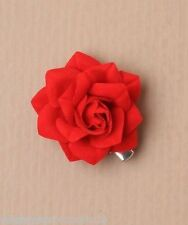 New Small Red Fabric Rose Flower Beak Hair Accessory Clip 4cm (5798)