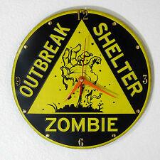 ZOMBIE OUTBREAK SHELTER CLOCK 12'' DIAMETER - NEW