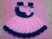 Handmade Crochet baby girl Dress, Headband , 3-6 Months by Rocky Mountain Marty