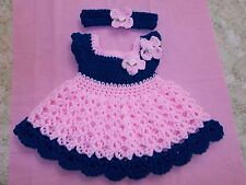 Handmade in  USA Crochet baby girl Dress, Headband , 0-3 by Rocky Mountain Marty