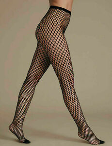 M&S Black Fishnet Tights Patterned Small Medium Extra Large Girls Womens Ladies