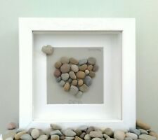 "Personalised Pebble Art Picture.Heart Stone Gift.Unique Present 6""x6""  Box Frame"
