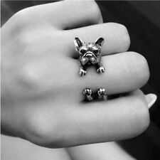 Jewelry French Bulldog Dog Animal Wrap Rings Finger Ring Adjustable Ring