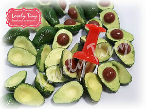 Dollhouse miniature 40 pieces of Half Avocados 20with Pip and 20with hole Size S