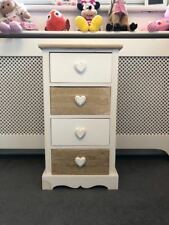 Shabby Chic Bedside Lamp Table Storage Unit Cupboard French Chic Heart Furniture