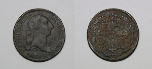 Moneda 4 Maravedis 1772 CARLOS III Segovia ESPAÑA.  Estupenda patina oscura.