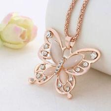 Mode Rose Gold Opal Kristall Schmetterling Anhänger Kette Halskette Geschenk*~