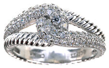 Sterling Silver Clear CZ Diamonique Twisted Knot Ring Size 6