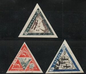 Latvia Sc CB18a- 20a 1933 airplanes stamp set imperf mint  NH Free Shipping