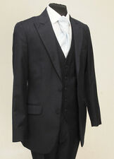 MJ-151 MENS TWO PIECE NAVY PINSTRIPE LOUNGE WEDDING FORMAL SUIT SET 100% WOOL