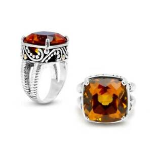 NEW BALI COUTURE RING STERLING SILVER/18K CITRINE SPLIT SHANK RING SIZE 7