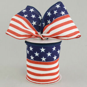 """100mm(4"""")wide AMERICAN PATRIOTIC FLAG STARS & STRIPES WIRED EDGE RIBBON 4TH JULY"""