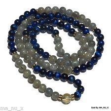 "The ""Frozen Hawk Mala"" - Labradorite & Blue Tiger Eye - Traditional 108 Count"