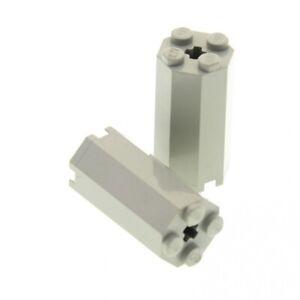2x Lego Achteck Bau Stein alt-hell grau 2x2x3 1/3 Octagon Pfeiler 6037