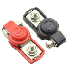 Pair Car Battery Terminal Connector Clamp Clip Positive+Negative Copper Cable