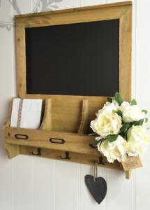 Shabby Chic Blackboard Vintage Chalk Board Wooden Notice Hooks Post Key Storage