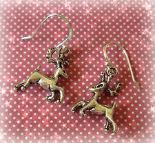 Christmas Xmas Reindeer Drop Dangle Earrings - 925 Sterling Silver Ear Hooks