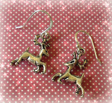 Natale Xmas renna Goccia Dangle Earrings - 925 Argento Sterling Orecchio Ganci