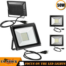 4 x 50W LED Flood Light Garden Path Outdoor Wash Lamp w/ US Plug 110V Warm White