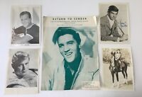 Troy Donahue Pat Boone George Hamilton Autograph B&W Photos & ELVIS Sheet Music