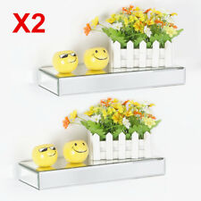 2X 35cm Bevelled Mirrored Floating Shelf Wall Storage Shelf Clear Mirror Shelves