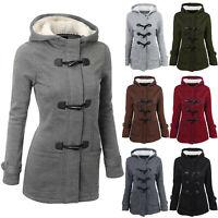 Women Winter Horn Buttons Cardigan Padded Hooded Coat Jacket Overcoat Tops LIU