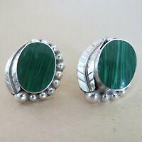 Sterling Silver Fake Malachite Earrings Pierced 13.2g Mexico Taxco TP-69 [4470]