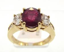 14KT YELLOW GOLD 2.60 CTTW RUBY & DIAMOND RING SIZE 7.25 CERT (6R 140-10510)