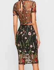 AU seller- Sexy 2 piece floral embroidered co-ords cropped top pencil shirt