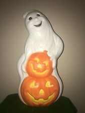 "New 31"" Halloween Lighted Blow Mold Ghost with Three Pumpkins Yard Decoration"