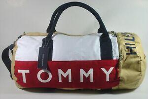 New W Tag Tommy Hilfiger Classic Logo Large Boston Duffle Gym Bag-Navy/Red/khaki