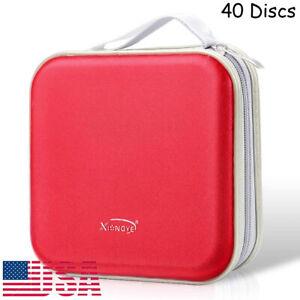Red CD DVD Organizer Holder Storage Case Hard Wallet Album Box Portable 40 Disc