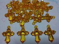 25 x couleur orange en acrylique à facettes Croix Charms/Pendentifs