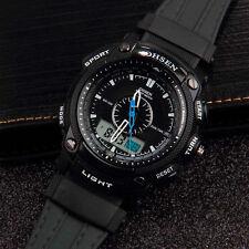 OHSEN Black Waterproof Digital LCD Day Alarm Mens Military Sport Rubber Watch DP