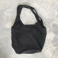 The Sak Saks Fifth Avenue Black Woven Satchel Purse Tote Handbag Shoulder Bag