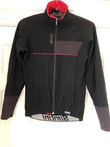 Santini mens long sleeve thermal cycling jersey black/ red - Medium