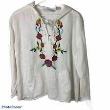 Mandarin Blue White Linen Embroidered Floral Hooded Pockets Top Shirt Women's XL